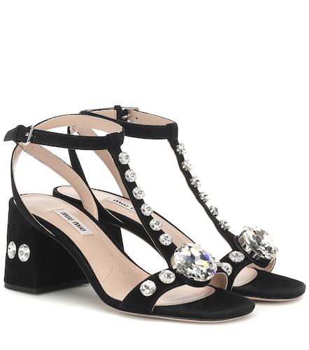 Sandales en daim à cristaux - Miu Miu - Modalova