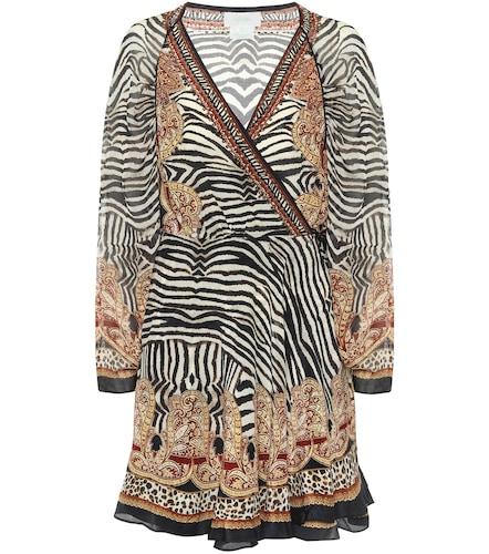 Robe portefeuille en soie à motif zébré - CAMILLA - Modalova