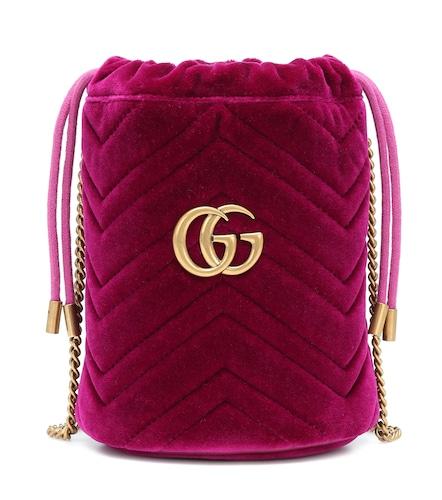 Sac seau GG Marmont Mini en velours - Gucci - Modalova