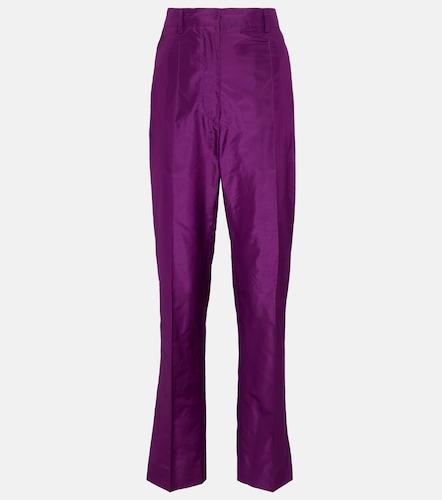 Pantalon slim à taille haute en soie - Prada - Modalova