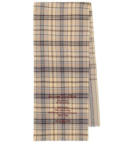 Écharpe en laine à carreaux et logo - Acne Studios - Modalova