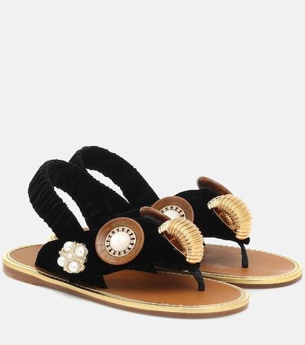 Sandales en velours à ornements - Miu Miu - Modalova