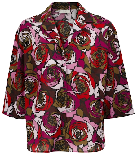 Chemise cala à imprimés roses en coton - Dries Van Noten - Modalova