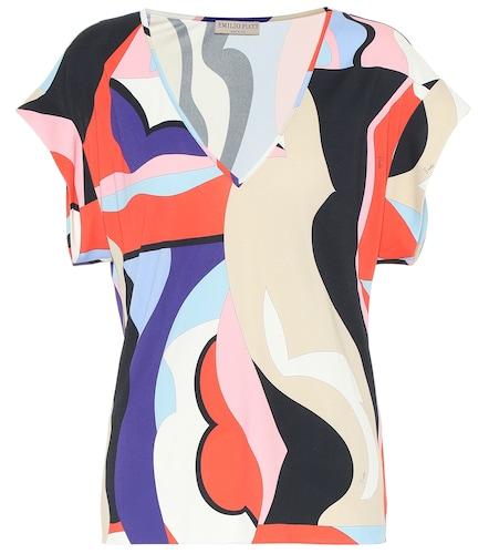 Top imprimé en jersey de soie mélangée - Emilio Pucci - Modalova