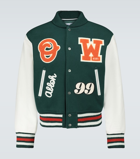 Barrel leather varsity jacket
