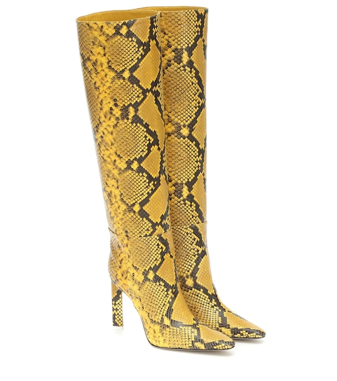 The Attico Snake effect leather knee high boots | Mytheresa