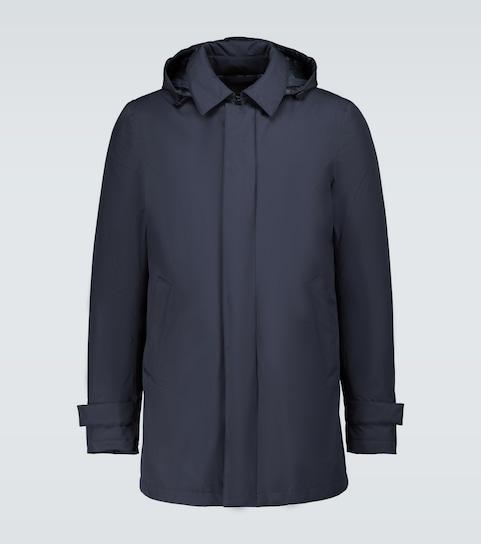 Lightweight down filled raincoat