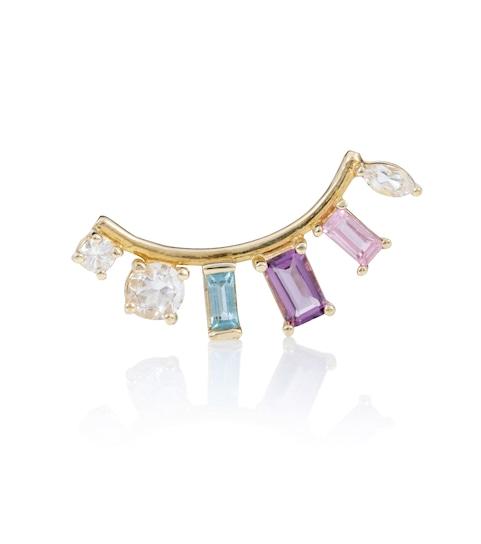 Loren Stewart Multi-Shaped Gem Arc 14kt gold earring with diamond, amethyst and topazes