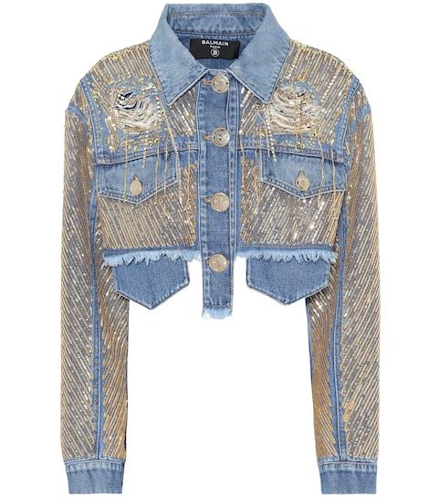 Veste en jean brodée et raccourcie à ornements