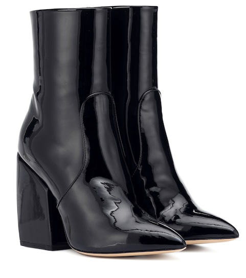 Solar patent leather ankle boots