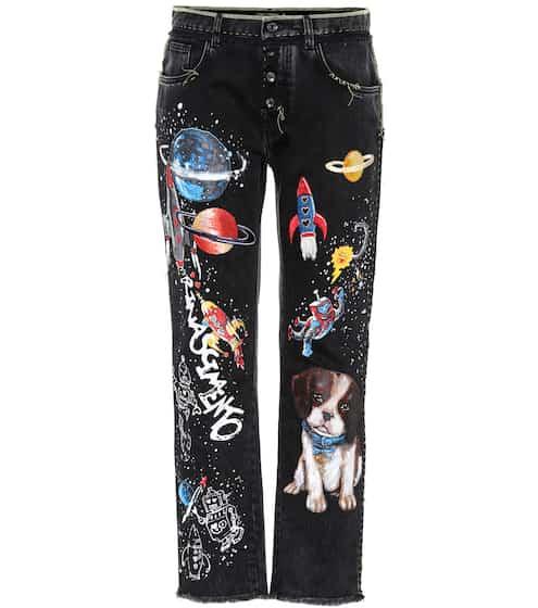 Dolce & Gabbana Bedruckte Boyfriend Jeans