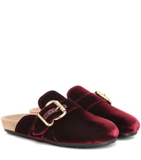 프라다 벨벳 슬리퍼 보르도 (와인색) Prada Velvet slippers