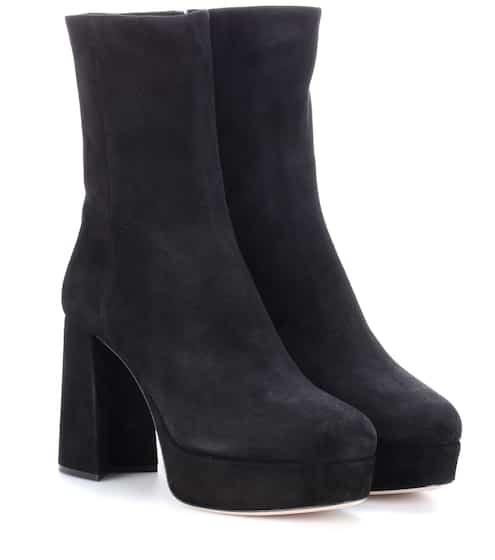 Miu Miu Suede Plateau Ankle Boots