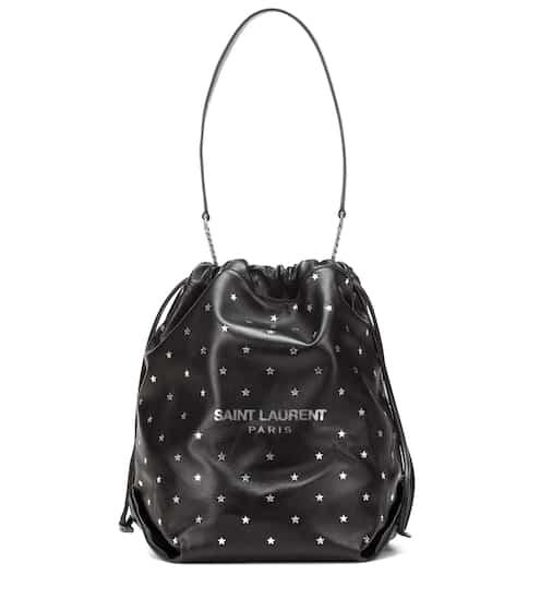 생 로랑 테디 버킷백, 별 패턴 - 실버 블랙 Saint Laurent Teddy leather bucket bag
