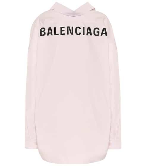발렌시아가 Balenciaga Logo cotton-poplin shirt
