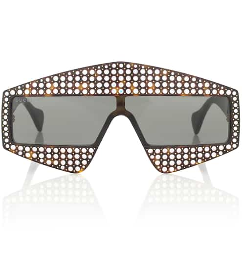 구찌 Gucci Embellished rectangular sunglasses