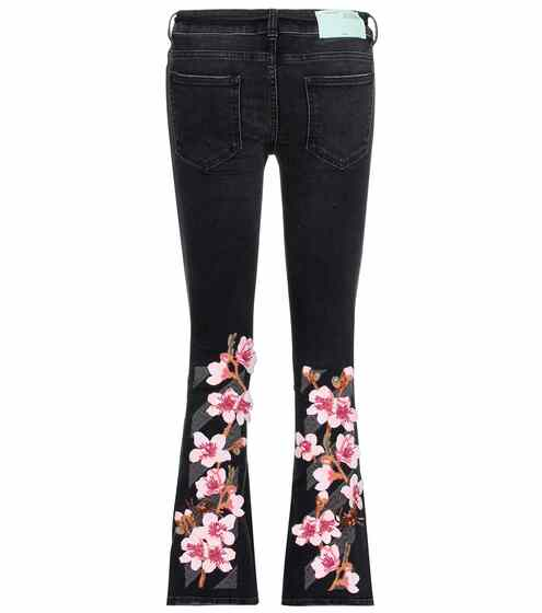 Off-White Bestickte Flared Jeans Cherry