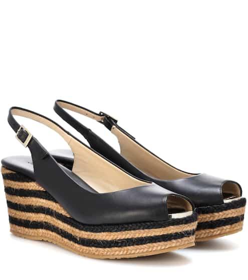 00e513f116b Jimmy Choo Praise Leather Wedge Sandals from mytheresa - Styhunt