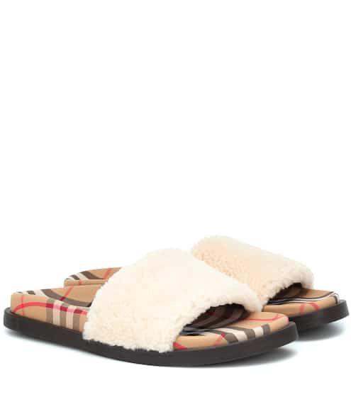 ce7540e2066 Burberry Ashmore Rainbow Check Slide Sandal from Neiman Marcus - Styhunt