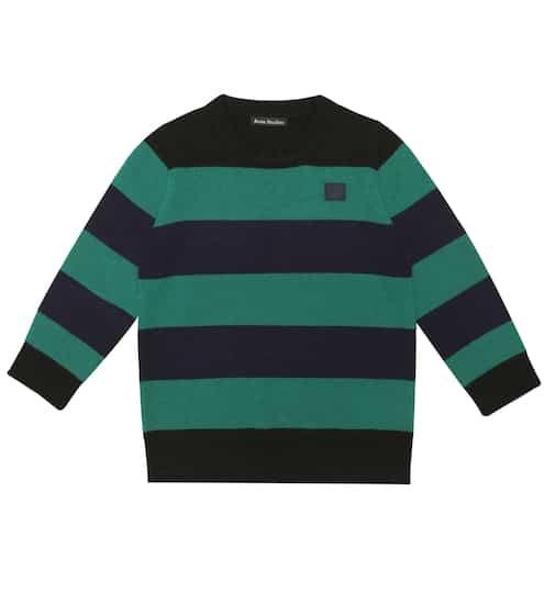 아크네 스튜디오 걸즈 미니 페이스 스웨터 Acne Studios Mini Face striped wool sweater