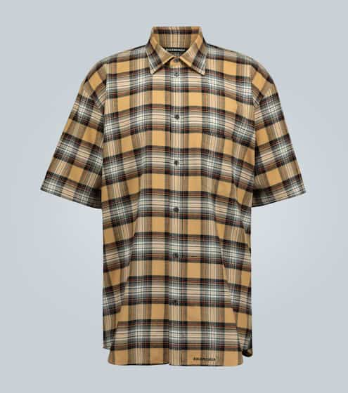발렌시아가 셔츠 Balenciaga Short-sleeved flannel shirt