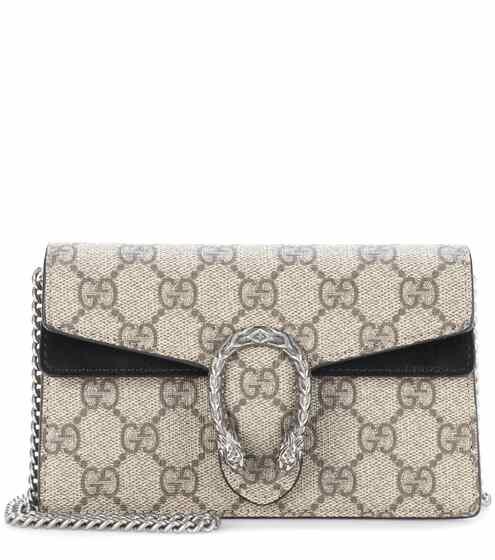 Gucci Schultertasche Dionysus GG Supreme Super Mini aus Canvas und Veloursleder