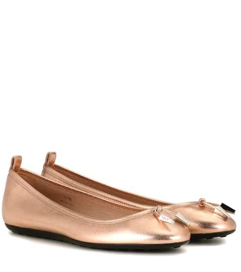 Tod's Ballerinas aus Metallic-Leder