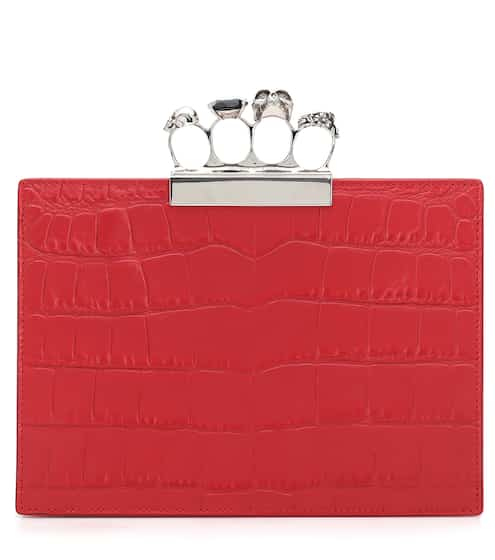6e062111169e7 Jewelled Small Four-Ring leather clutch | Alexander McQueen