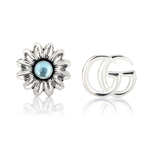 4e04c5811 Double G flower sterling silver and topaz stud earrings | Gucci