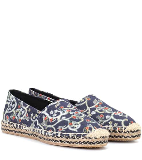 Maje Woman Embroidered Printed Canvas Espadrilles Red Size 39 Maje RC1TMeWqm3