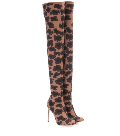 Leopard-printed over-the-knee boots | Francesco Russo