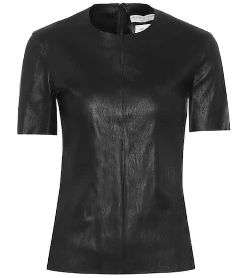 Leather T-shirt by Bottega Veneta, available on mytheresa.com for $2750 Kylie Jenner Outerwear SIMILAR PRODUCT
