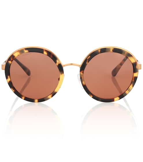 Prada Runde Sonnenbrille in Horn-Optik