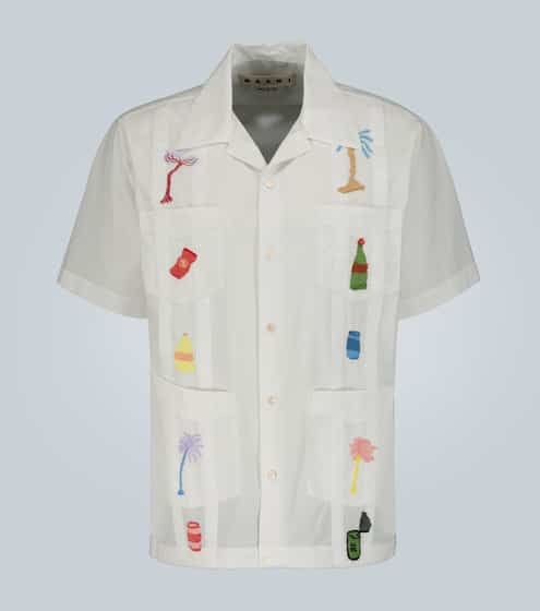 마르니 심볼 자수 반팔 셔츠 Marni Embroidered short-sleeved shirt