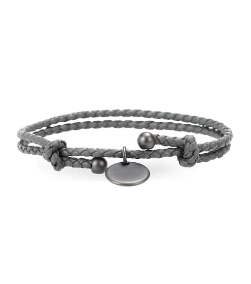 black veneta leather savings shop bracelet on m bottega men interlaced