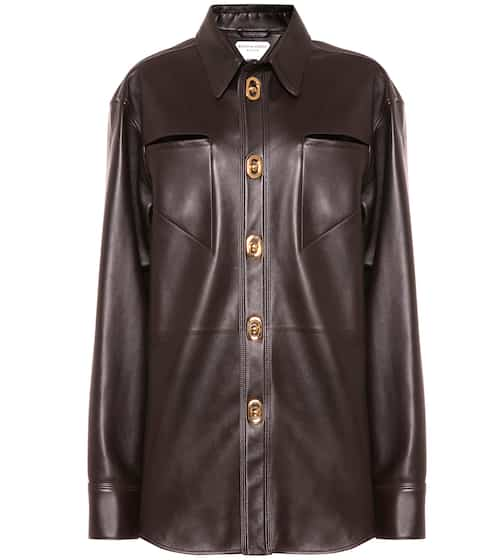 Leather shirt by Bottega Veneta, available on mytheresa.com for $5460 Kylie Jenner Outerwear Exact Product