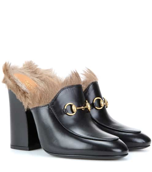 dc7eafdd34f Gucci Princetown Fur-Trimmed Leather Mules from mytheresa - Styhunt