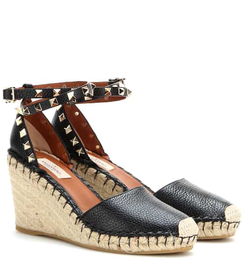 65246c0ea03 Valentino Rockstud Double Leather Wedge Espadrilles from mytheresa ...