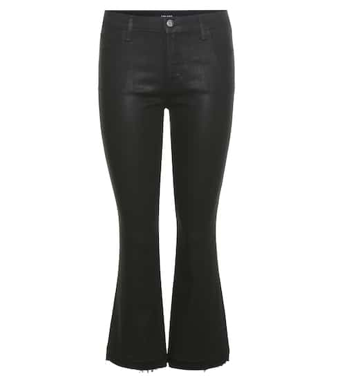 J Brand Beschichtete Mid-Rise Cropped Flared Jeans Selena