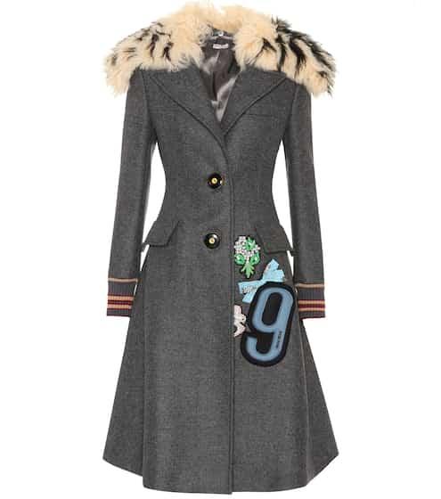 Miu Miu Mantel aus Wolle mit Pelzbesatz
