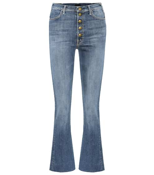 Mother Cropped Jeans Hustler Snap Down
