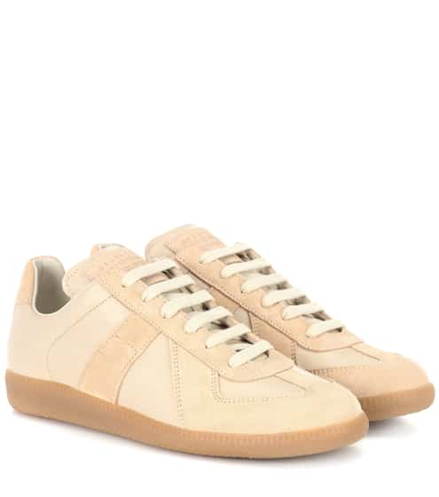 10b9bb9bce3 Maison Margiela Replica Leather And Suede Sneakers