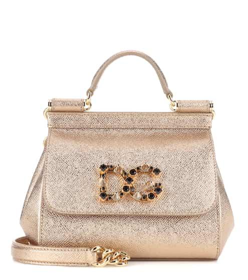 Dolce & Gabbana Tasche Sicily Mini aus Metallic-Leder