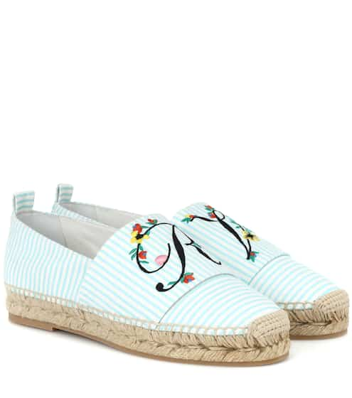 Maje Woman Embroidered Printed Canvas Espadrilles Size 38 vZTkpr