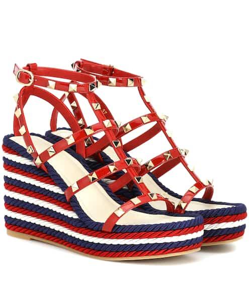7360abac7f0b Valentino Garavani Torchon leather wedge sandals