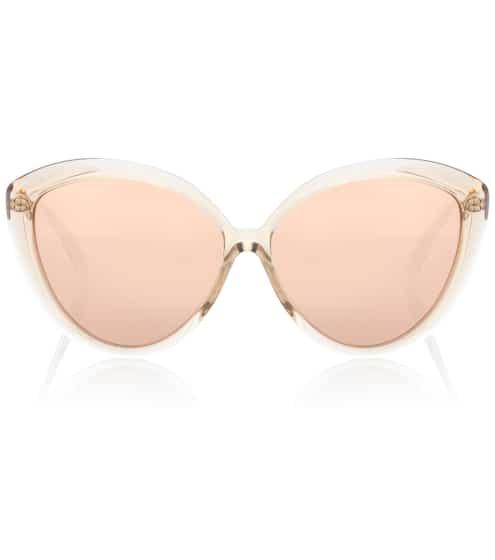 Linda Farrow Cat-Eye-Sonnenbrille mit rosévergoldeten Gläsern