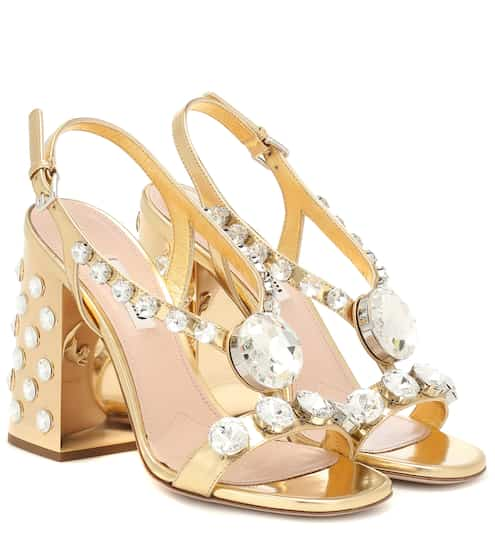 918300d3a77 Embellished metallic leather sandals