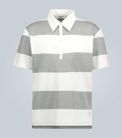 탐 브라운 Thom Browne Striped cotton polo shirt