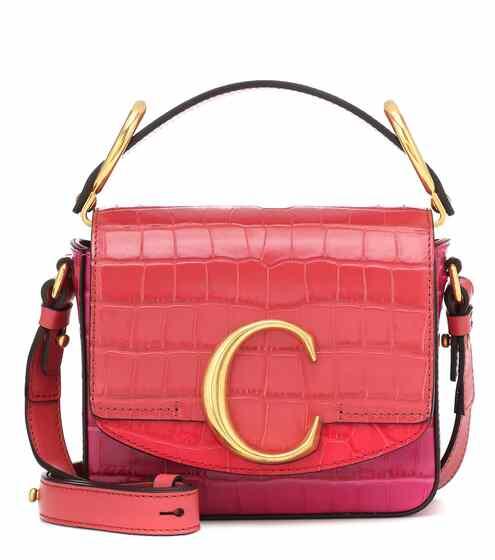 끌로에 C백 미니 - 그래픽 핑크 (김연아, 아이유, 윤아, 제시카 착용) Chloe C Mini leather shoulder bag