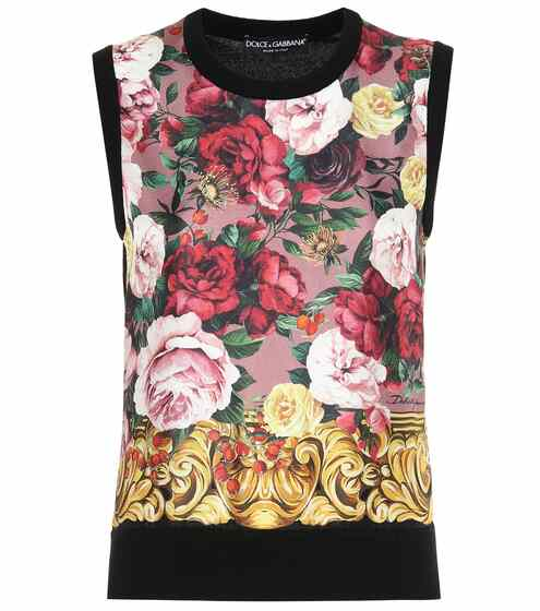66557d131 توب بدون أكمام من الحرير والكشمير بطبعات   Dolce & Gabbana